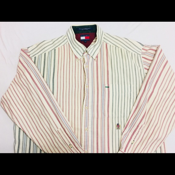 a730dc5e Tommy Hilfiger Shirts | Mens Button Shirt L Striped Cream | Poshmark